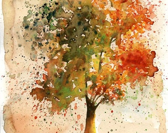 Autumn Tree-Landscape painting-Watercolor-Orange autumnal forest-Archival Large  Print from my original watercolor painting 11x14 inch