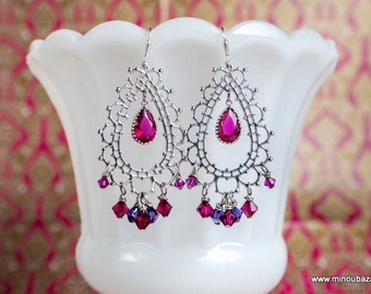 Bollywood Earrings Morocco Bridal Silver Berry Lace by MinouBazaar