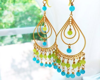 Jade Chandelier Earrings Blue Green Bollywood by MinouBazaar