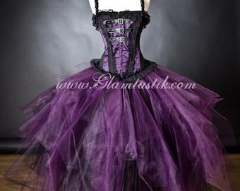 Custom Size Purple Plum and Black lace buckle Witch Burlesque Corset Halloween dress