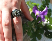 Compass Ring, Black Compass Ring, Filigree Ring, Glow ring, Vintage Ring, Steampunk Ring, Victorian Ring, Black Ring, Silver ring, Gift