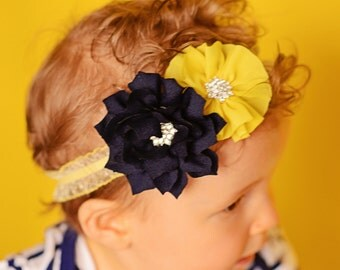 Yellow elastic headband, navy flower headband, baby headband, toddler headband, bridal hair accessories, flower girl headband, baby shower