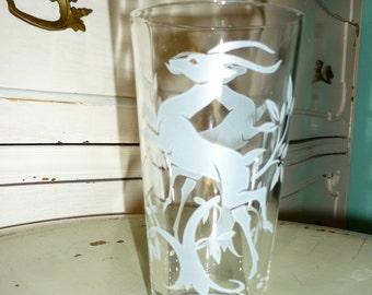 Vintage Prancing Antelope/Deer Drinking Glass