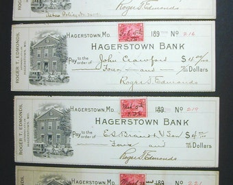 1900 Hagerstown Maryland Bank Roger Edmonds Checks Vintage 2 Cent Tax Stamps