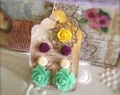Mint Green Rose Earrings Mini Mum Post Earrings Gift Art Tag