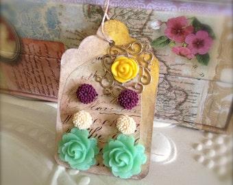 Mint Green Rose Earrings Mini Mum Post Earrings Gift Art Tag Stock Clearance