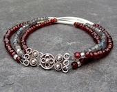 Garnet and Labradorite Gemstone Sterling Silver Bracelet with Ornate Bali Sterling Silver Hook Clasp