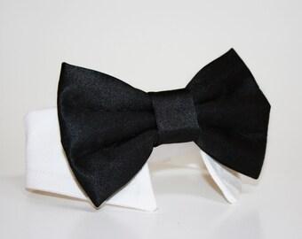 Black Dog Bow Tie and Shirt Collar-  Black tie- Wedding Dog Tie- Shirt Collar