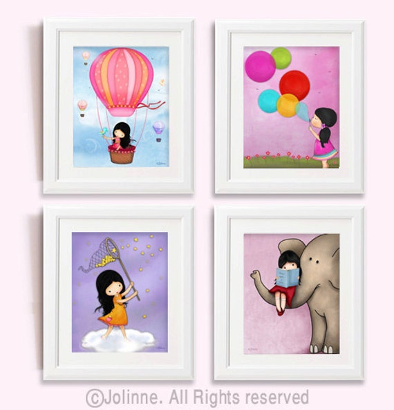 girls room wall art kids prints kids room art posters. Black Bedroom Furniture Sets. Home Design Ideas