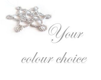 Set of Six Metallic Christmas Decorations - Your choice of colour - Celyna - Large