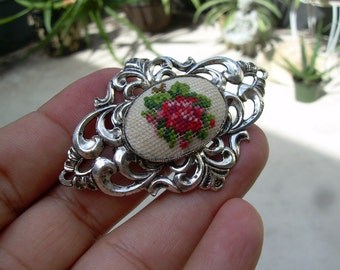 Vintage Ornate openwork silver tone  needle point rode brooch Broken for parts or repair or altered art etc.