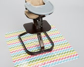 Girl chevron  Chair Splat Mat- Laminated Cotton, BPA Free