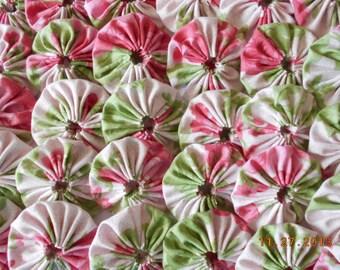 30 Pink Rose Yo Yo 2 Inch Quilt Block Trim Applique Embellishment Barrette