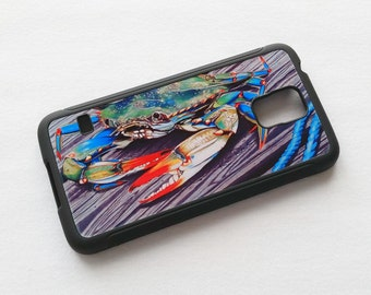 Blue Crab on Pier artwork Phone case fits Samsung Galaxy 5 Nautical android smartphone