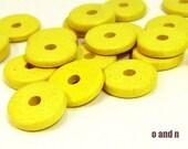 Rondelle greek ceramic beads, yellow - set of 30