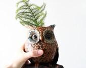 Vintage Ceramic Owl Vase - Large Brown Owl Figurine