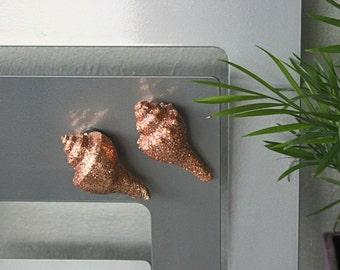 Fridge Magnet, Natural Spiral Sea Shell, Set of 2, Copper Glittered, Handmade