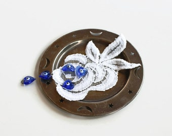Rustic Table Top Decor, Ring Dish, Vintage Decorative Metal Mini Tray English Silver Saucer, Rustic Home Decoration