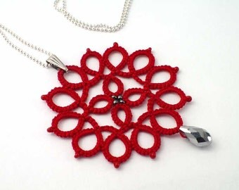 """Red tatted lace pendant necklace on an 18"""" ball chain. Hand shuttle tatted lace jewelry. Also available in black."""