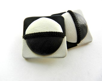 Sensational large Optical Earrings - vintage 1960 Italian high fashion - leather black & white OP Art- Art.362/3--
