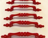 Drawer Pulls Red Reclaimed 3 Inch Centers Set of 6.
