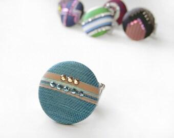 Tiffany Blue Ring Aqua Button Ring Swarovski Rhinestones