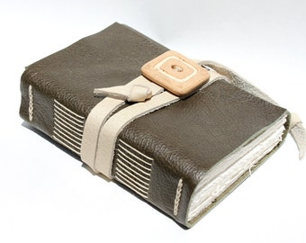 Olive Green Leather Journal or Sketchbook - Handbound with Handmade Stoneware Adornment - Gift for Him