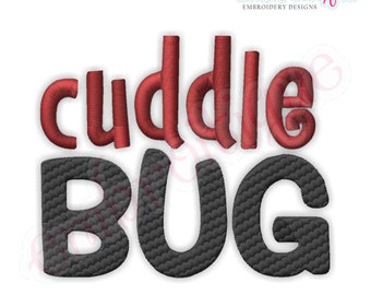 Cuddle Bug Filled Embroidery Design- Instant Email Delivery Download Machine embroidery design