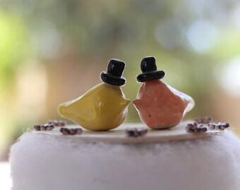 Same sex  Love birds cake topper Wedding cake topper Gay wedding cake toppers Custom GAY cake topper