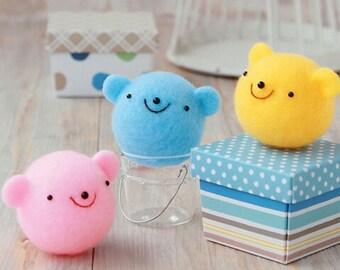 Kawaii Bear Trio Mascots - Japanese Needle Acrylic Fiber Felt  DIY Kit - Maco Maako, Hamanaka Aclaine Kit, Cute Colorful Bear Doll kit, F88