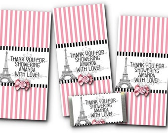 36 Mini Candy Wrappers, Eiffel Tower, French, Pink, Black, Wedding, Bridal Shower, Baby Shower, Birthday