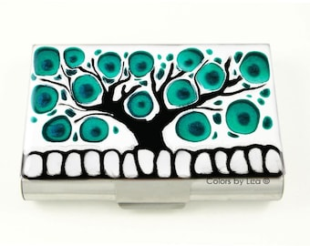 Extra Large Metal Business Card Case Teal Tree of Life in Hand Painted Enamel Custom Colors and Personalized Options
