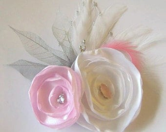 SALE Rose Flowers in White and Pink  Feather Hair Fascinator Clip with Skeleton leaves and Rhinestone Jewels