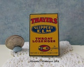 Dollhouse Miniature Vintage Metal Advertising Sign Thayers Throat Lozenges