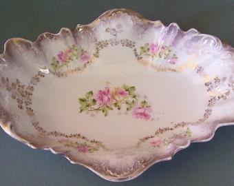 Antique CT ( Carl Tielsch Hutchenreuther)  Germany, Floral Porcelain Serving Dish, Porcelain Bowl, Lustre Ware, Vintage Porcelain, Serving