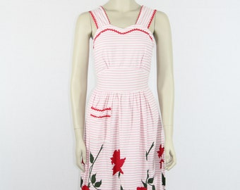 1950s Cotton Dress - Pink and White Stripes with Large RED ROSES Border Print SunDress - 32 / 26 / full