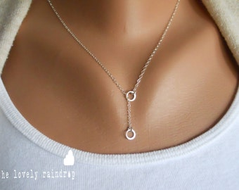 "SALE - Tiny Sterling Silver Eternity/Circle Lariat Necklace - 1/8"" in diameter -Jewelry - Gift For - Wedding Gift For the love"