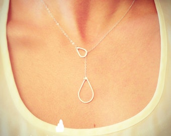 NEW Sterling Silver Raindrop/Teardrop Lariat Necklace - Sterling Silver Jewelry - Gift For - Wedding Jewelry - Gift For - Rain Lariat