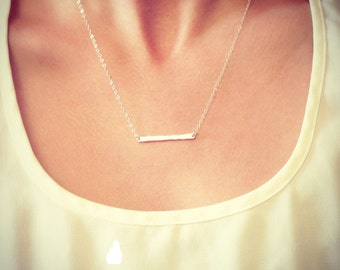 SALE - Sterling Silver Tiny Hammered Bar Necklace - Dainty Small Bar Pendant Sterling - Gift For - Wedding Jewelry - Simple Everyday -lovely