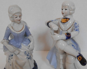 Vintage Victorian Couple Figurines -- Delft Blue and White Vienna Woods Style -- Set of two Man and Woman