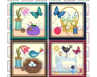 Instant Download - Sewing Fun Collage Sheet - 1 inch squares for pendants, stickers, tiles, magnets, scrapbooking. 354