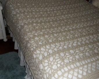 Crocheted Afghan - Blanket  - Coverlet - Throw - Bedspread -XLarge   ''BOUDOIR''   in Soft Tan