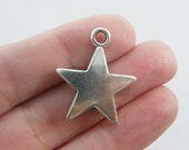 4 Star charms ( double sided ) 28 x 23mm antique silver tone S36