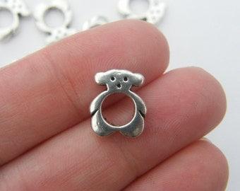 12 Bear spacer beads antique silver tone A199