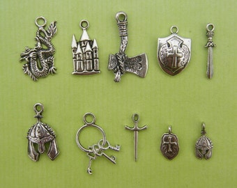 Medieval Collection - 10 different antique silver tone charms