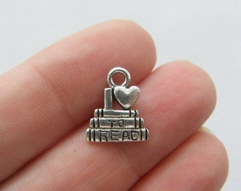 8 I love to read charms antique silver tone PT12