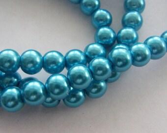 105 Teal imitation pearlglass beads B132