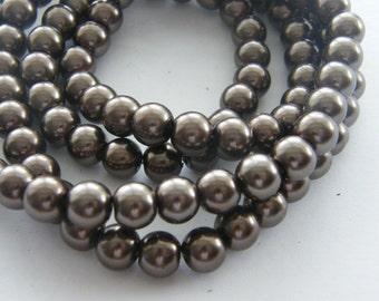 105 Brown imitation pearl glass beads B155