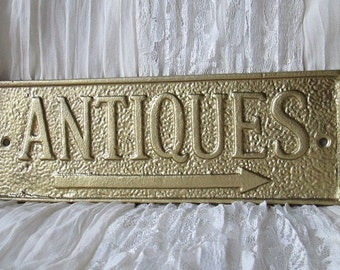 Cast Iron Rustic Antique Sign/ Home Decor/ Wall Decor Plaque Painted in Brass