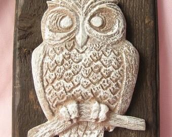 Sale- Vintage Owl Wall Plaque